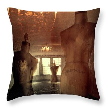Vintage Dressforms With Abstract Grunge Background Throw Pillow by Sandra Cunningham