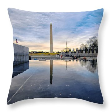 Washington Monument From The World War II Memorial Throw Pillow