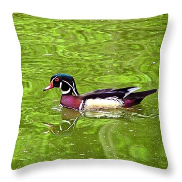 Water Wood Duck Throw Pillow