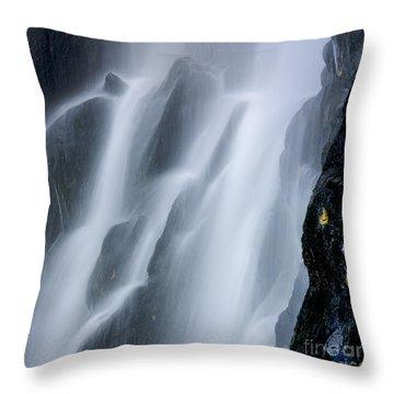 Waterfall Of Vaucoux. Puy De Dome. Auvergne. France Throw Pillow by Bernard Jaubert