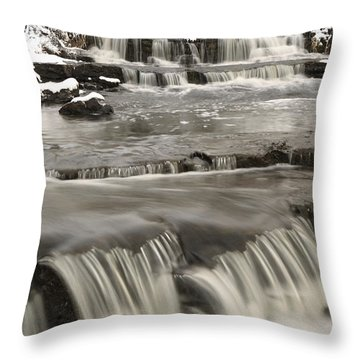 Waterfalls With Fresh Snow Thunder Bay Throw Pillow