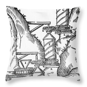 Watermill, Reversed Archimedean Screw Throw Pillow by Science Source