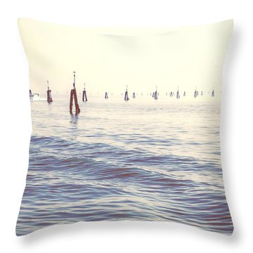 Waterway In The Lagoon Of Venice Throw Pillow by Joana Kruse