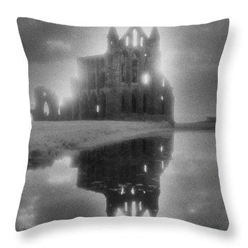 Whitby Abbey Throw Pillow by Simon Marsden