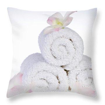White Spa Throw Pillow by Elena Elisseeva