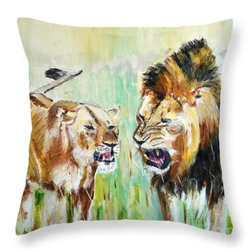 Throw Pillow featuring the painting wild Kingdom by Judy Kay