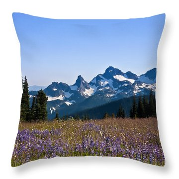 Wildflowers In The Cascades Throw Pillow by Ronald Lutz