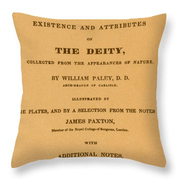 William Paleys, Natural Theology Throw Pillow by Science Source