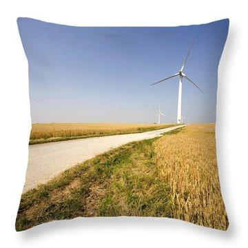 Wind Turbine, Humberside, England Throw Pillow by John Short