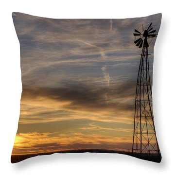 Windmill And Sunset Throw Pillow by Art Whitton