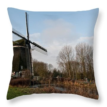 Throw Pillow featuring the digital art Windmill In Amsterdam by Carol Ailles