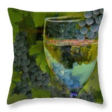 Wine Glass Throw Pillow by Stephanie Laird
