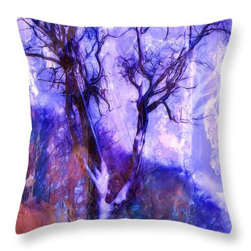 Winter Tree Throw Pillow by Ron Jones