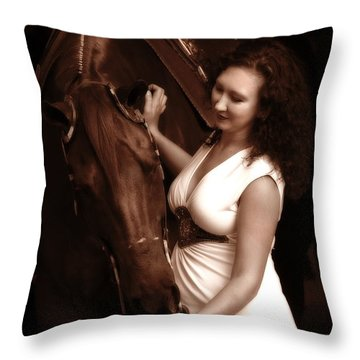 Woman And Horse Throw Pillow by Angela Rath