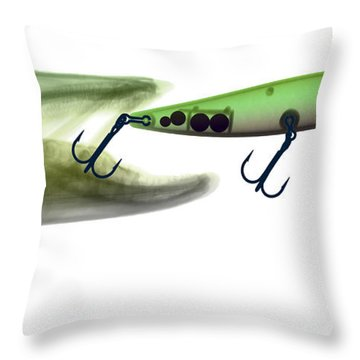 X-ray Of Muskie & Lure Throw Pillow by Ted Kinsman