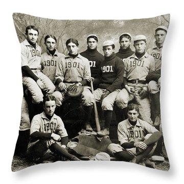 Yale Baseball Team, 1901 Throw Pillow by Granger