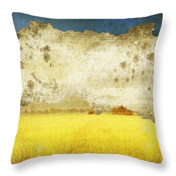 Yellow Field On Old Grunge Paper Throw Pillow by Setsiri Silapasuwanchai