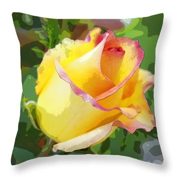 Yellow Rose Throw Pillow by Anne Mott