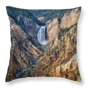 Yellowstone Lower Falls Throw Pillow