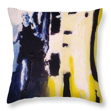 Throw Pillow featuring the painting Young Running Female Cityscape In Blue And Yellow by M Zimmerman