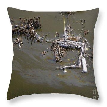 Hurricane Katrina Damage Throw Pillow by Science Source