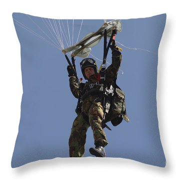 A Member Of The Pathfinder Platoon Throw Pillow by Andrew Chittock