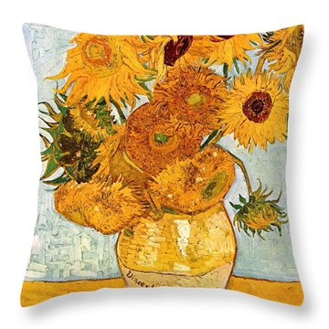 12 Sunflowers In A Vase Throw Pillow by Sumit Mehndiratta