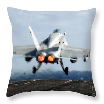 An Fa-18c Hornet Launches Throw Pillow by Stocktrek Images