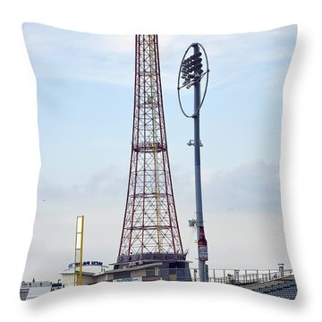 Throw Pillow featuring the photograph 13 Year Old Pitching At Coney Island Cyclones Stadium by Maureen E Ritter