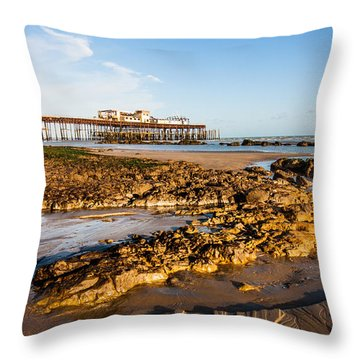 Hastings Pier Throw Pillow by Dawn OConnor