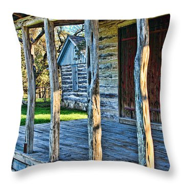 1860 Log Cabin Porch Throw Pillow by Linda Phelps