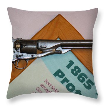 Throw Pillow featuring the photograph 1865 Gun by Roena King