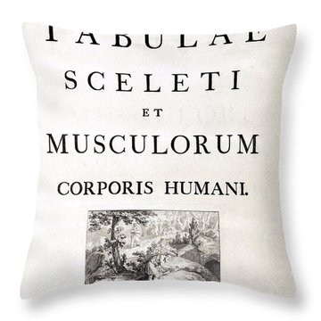 18th Century Anatomy Book Throw Pillow by Science Source