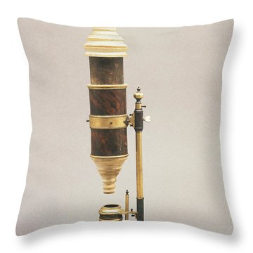 18th Century Microscope Throw Pillow by Tomsich