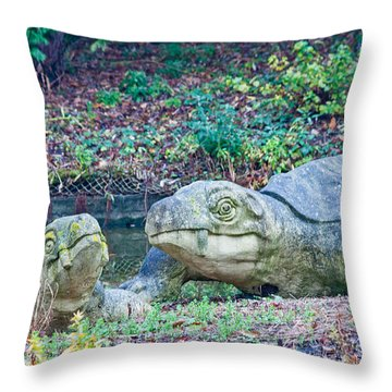 Dinosaur Throw Pillow by Dawn OConnor