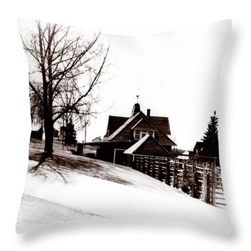 1900 Farm Home Throw Pillow by Marcin and Dawid Witukiewicz
