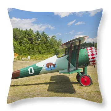 1917 Nieuport 28c.1 Antique Fighter Biplane Canvas Photo Poster Print Throw Pillow