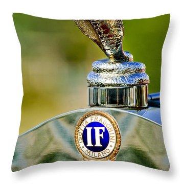 1924 Isotta-fraschini Tipo 8 Torpedo Phaeton Hood Ornament Throw Pillow by Jill Reger