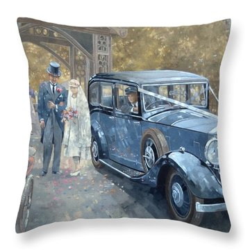 1930s Country Wedding  Throw Pillow by Peter Miller