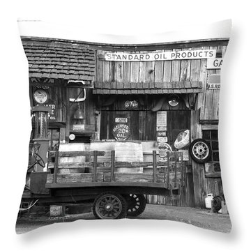 1930's Gas Station Throw Pillow