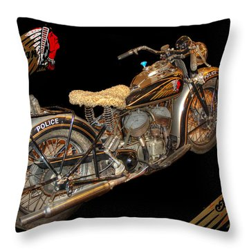 1940 Indian Scout Police Unit Version 3 Throw Pillow by Ken Smith