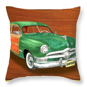 1950 Ford Country Squire Woody Throw Pillow by Jack Pumphrey