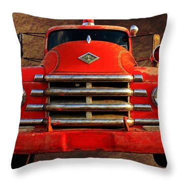 1955 Diamond T Grille - The Cadillac Of Trucks Throw Pillow by Betty Northcutt