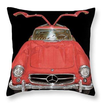 1955 Mercedes Benz 300sl Gull Wing  Throw Pillow by Jack Pumphrey