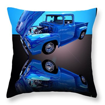 1956 Ford Blue Pick-up Throw Pillow by Jim Carrell