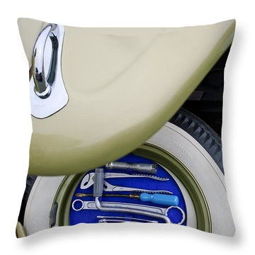 Throw Pillow featuring the photograph 1956 Volkswagen Vw Bug Tool Kit by Jill Reger