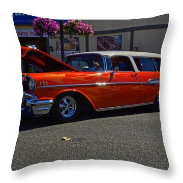 Throw Pillow featuring the photograph 1957 Belair Wagon by Tikvah's Hope