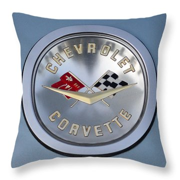 1959 Corvette Emblem Throw Pillow by Paul Ward