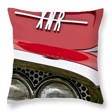 1960 Plymouth Xnr Ghia Roadster Grille Emblem Throw Pillow by Jill Reger