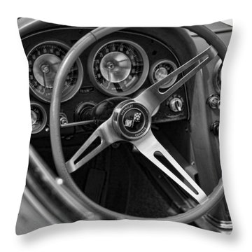 1963 Chevy Corvette Steering Wheel And Dash Board Black And White Throw Pillow